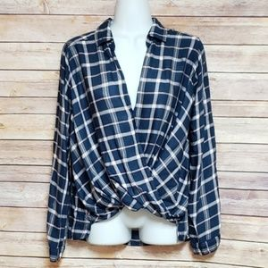 Hollister Blue & Pink Plaid High-low Gathered Top